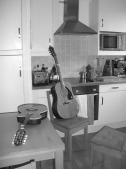 Guitar and mandolin in kitchen
