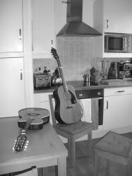 Guitar and mandolin in kitchen