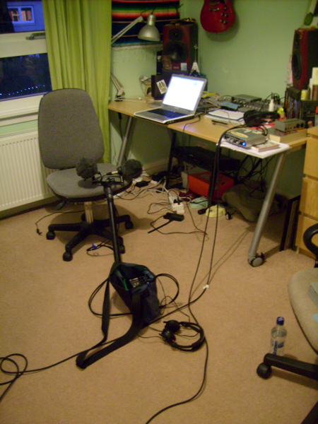 Studio floor with cables and mics