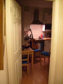 Kitchen with guitar and mandolin